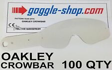 100 qty GOGGLE-SHOP TEAR OFFS to fit OAKLEY CROWBAR MOTOCROSS GOGGLES flippers
