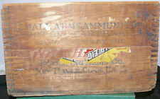 ANTIQUE WOOD WINCHESTER SHOTGUN SHELL AMMUNITION CRATE WITH PARTIAL PAPER LABEL