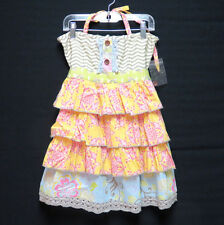 Mustard Pie Girls Sz 8 Rigby Apron Top Dress Multi Color Ruffled Sundress Easter