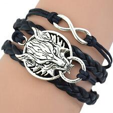 Bracelet en cuir tête de loup pour homme / femme