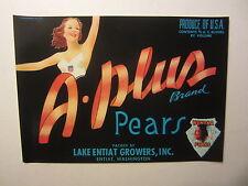 Original Old Vintage - A-PLUS Pear Crate LABEL - Lake Entiat Growers  Washington
