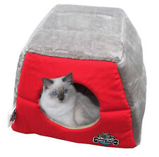 Red Cat Kitten Cave Nest, Puppy Dog, Pet Igloo, Cat Basket, Pet Mat, Hidey Hole