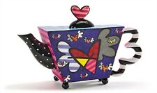 "ROMERO BRITTO ""DECORATIVE"" MINI TEAPOT FIGURINE- FLYING HEARTS DESIGN"