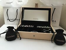 Pandora Leather Jewelry Box w/ Mirror, Charms Rods and 2 Pandora Pouches! New!