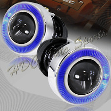 "3"" Round Blue Halo Projector Glass Lens Fog Driving Lights Lamps Kit Universal 4"