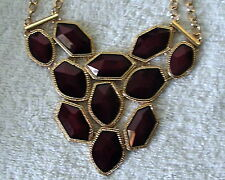 NEW RED acrylic stone link BIB STYLE NECKLACE & EARRING SET gold tone #123