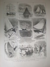 Yachting Round the Mouse Light in a ten tonner 1880 old prints
