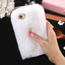 Deluxe Winter Warm Soft Fluffy Rabbit Fur Crystal Bling Case Cover for iPhone