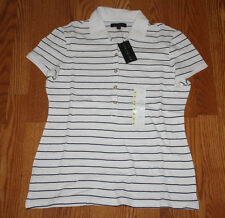 NWT Womens LIMITED White Black Striped Short Sleeve Polo Shirt Top L Large