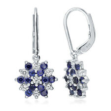 BERRICLE 925 Silver Simulated Sapphire CZ Flower Leverback Dangle Drop Earrings