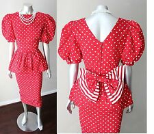 Peplum Polka Dot Striped Vintage 80s 90s Kitten Bow Pencil Pouf Sleeve Dress M
