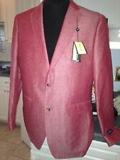 NWT $150 Alan Flusser Ruby Red Linen Cotton Spring Blazer Sport Coat 48R 48 REG