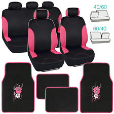 Black/Pink Car Seat Covers for Auto & Pink Hibiscus Flower Floor Mats