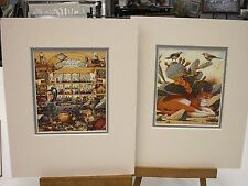 2 MATTED CAT PRINTS CHARLES WYSOCKI 8 X 10 PANCHO CACTUS CAT ELMER PHARMACY NEW