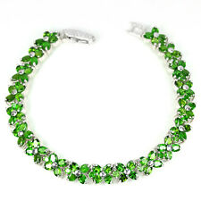 Sterling Silver 925 Genuine Natural Chrome Diopside Flower Bracelet 7.25 Inches