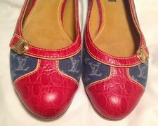 AUTH $1200 LOUIS VUITTON Women Flat Shoe Red Leather & Blue Denim Size 7(US) 37