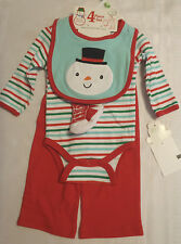 Baby Gear 3-6 Month Striped Bodysuit Snowman Bib Red Pants Socks Outfit NWT