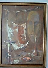 Joe Hager Vintage Mid Centruy Modern Surrealism Abstract Expressionist Painting