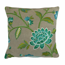 "Manuel Canovas Carla pillow cover in Turquoise  20"" x 20"" Stunning Embroidery"
