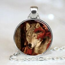 Vintage Wolf leaves Cabochon Tibetan silver Glass Chain Pendant Necklace @G98