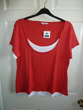 Editions short sleeve RED t-shirt top UK 20 100% COTTON bnwt