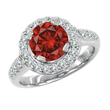 1.2 Carat Red SI2 Round Diamond Solitaire Promises Wedding Ring 14K White Gold