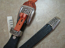 New O/S CIRCLE Y BRAND Black Leather Belt SILVER CELTIC KNOT BUCKLE/HARDWARE 32