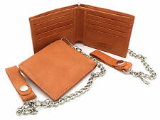 Bifold Orange Genuine Leather Wallet with Scale Texture Design with a Chain