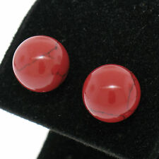 NEW .925 Sterling Silver 10mm Round Red Coral Ball Stud Earrings Simple Studs