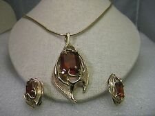 Vintage Gold tone Sarah Coventry Amber Pendant Necklace & Clip earrings  - BOLD