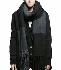 In Stock Winter Warm Men Knitted Plaid Shawl  Wool Long Wrap Neck Scarf Scarves