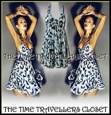 TOPSHOP Kate Moss Grey Halterneck Leopard Animal Chiffon 50s Retro Dress UK 12