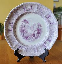 Antique Ironstone Staffordshire Purple Transferware Plate E. Challinor Lozere