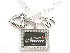 Nana I Love Heart My Silver Toggle Necklace Crystal Black Rectangle Jewelry