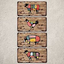 LP0140 Meat Chart Set Beef Fork Lamb Chicken Sign Auto License Plate Rust Decor