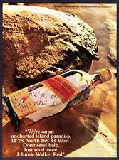 1974 Johnny Walker Red Label Scotch Bottle with Note on Beach photo promo ad