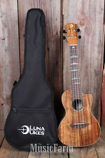 Luna High Tide Concert KOA Acoustic Electric Ukulele Uke with Preamp and Gig Bag