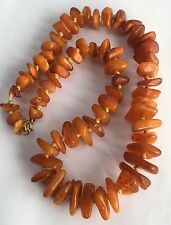 Antique Genuine BALTIC AMBER Round Beads Necklace Egg yolk Butterscotch 60 Grams