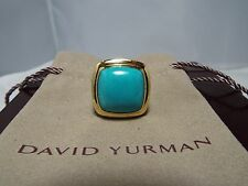 David Yurman 18K & SS 20MM Turquoise  Ring 7.75