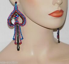 LOVE VALENTINES DAY MULTICOLOR RHINESTONE HEARTS CHANDELIER PARTY EARRINGS