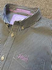 Precioso botones en el cuello Bengala de Superdry a rayas Camisa Lila detalle M Mediano