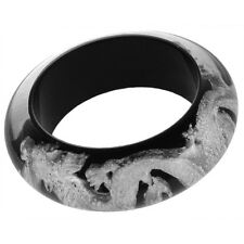 ZSISKA RESIN DRAGON BANGLE WITH SILVERLEAF INLAY.BLACK. MEDIUM