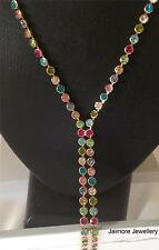 Multi-Coloured Crystal NECKLACE W/ Swarovski Austrian Rhinestones Long 70cm