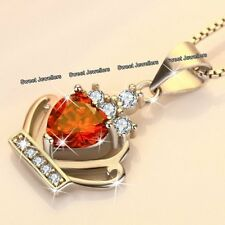 Red Crystal Diamond Heart Necklace Xmas Gifts For Her Wife Love Girlfriend Women
