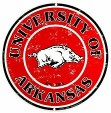 "University of Arkansas Razorbacks Embossed Metal 12"" Circle Sign"