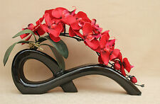 ARTIFICIAL SILK 2 STEMS RED MOTH ORCHIDS IN BLACK BOW VASE-WEDDING, TABLE DEC