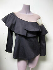 Johanna Ortiz NWT Black Poplin Nude Mesh Lazarote One Shoulder Top Blouse 4