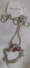 Necklace Hello Kitty Jewelry Pink Rhinestone Bow Tie Large Face Silver 26""