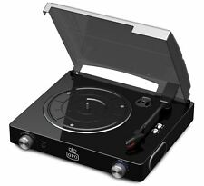 GPO Stylo 3 Speed Record Player Black Retro Vinyl Turntable, Built In Speakers