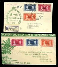 RARATONGA + NIUE 1937 CORONATION ILLUSTRATED FDCs